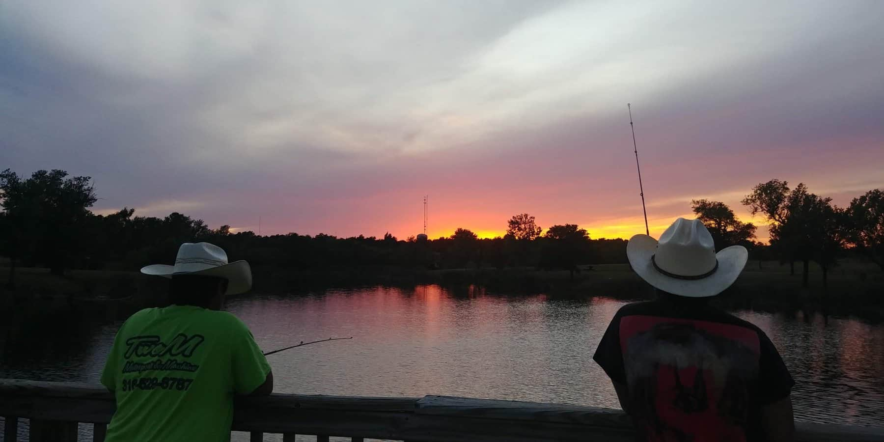 sunset over texas fisherman