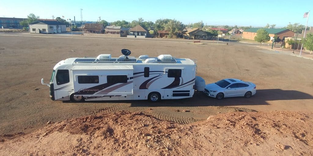 pippi our motorhome parked at visitor center lot in winslow arizona