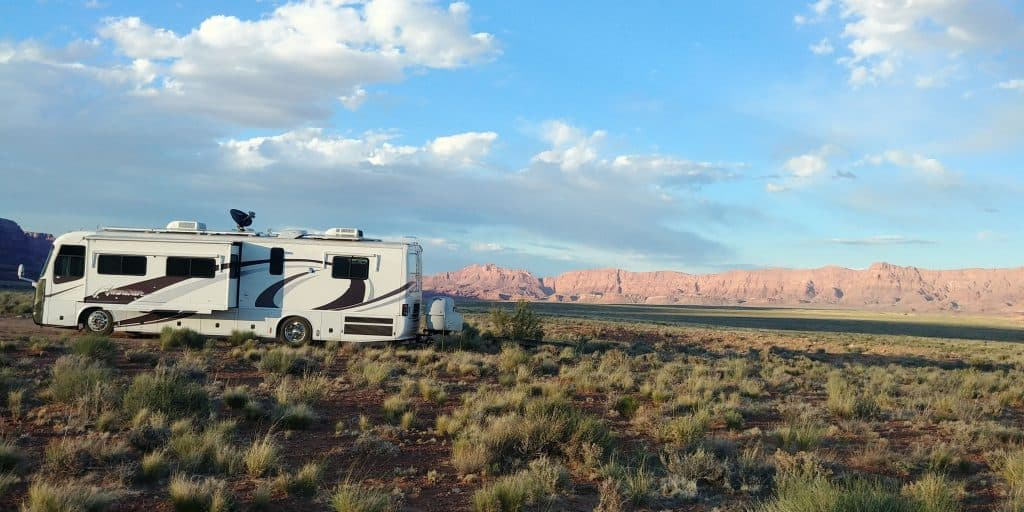 our motorhome pippi at soap creek dispersed camping on vermillion cliffs near page arizona