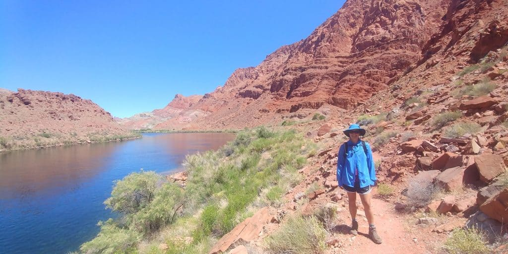 kara on riverside trail at glen canyon national recreation area