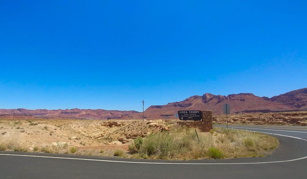 lee's ferry sign at glen canyon national recreation area