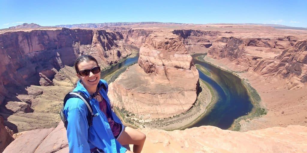 kara at horseshoe bend during our 2-days in page arizona