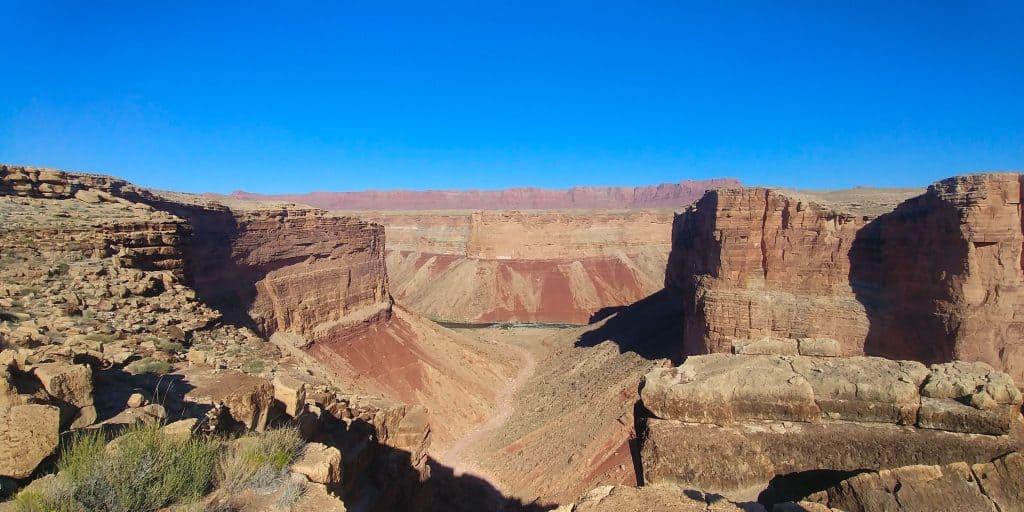 colorado river in distance at vermillion cliffs