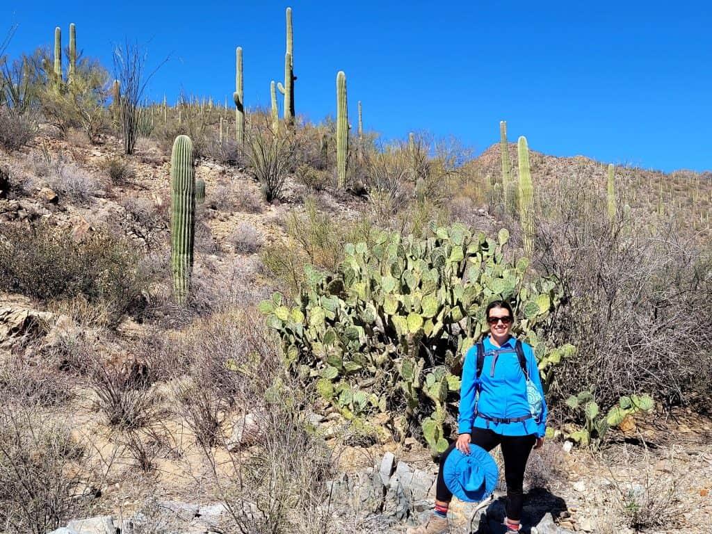 kara with prickly pear and saguaro