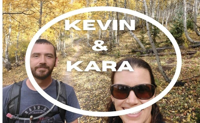 kevin and kara with aspen background on Ouray Perimeter trail in Colorado