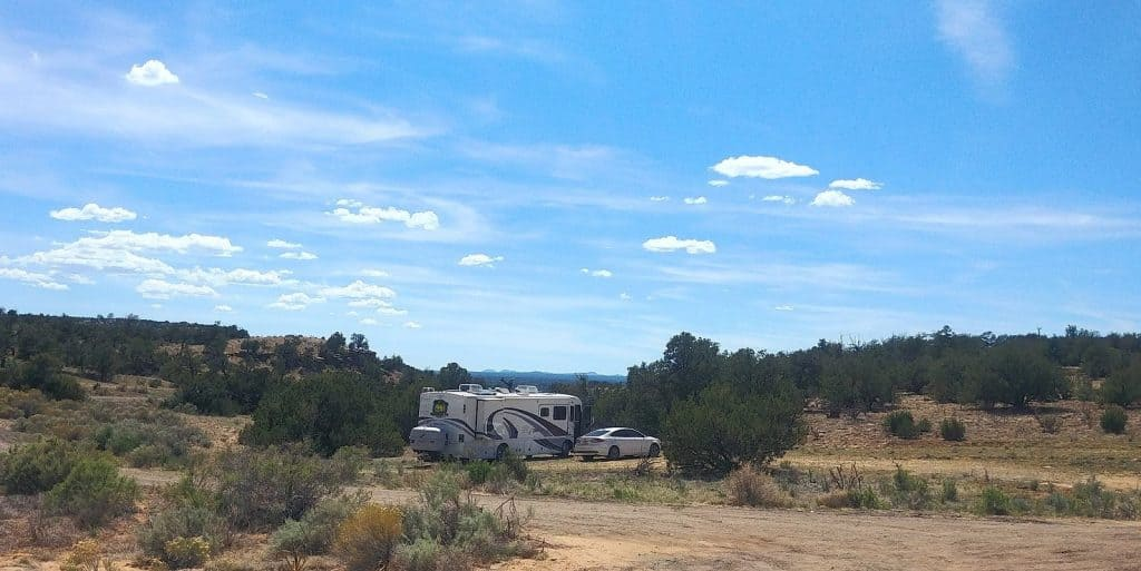 our motorhome, pippi, parked outside joe skeen campground in el malpais national conservation area in new mexcio