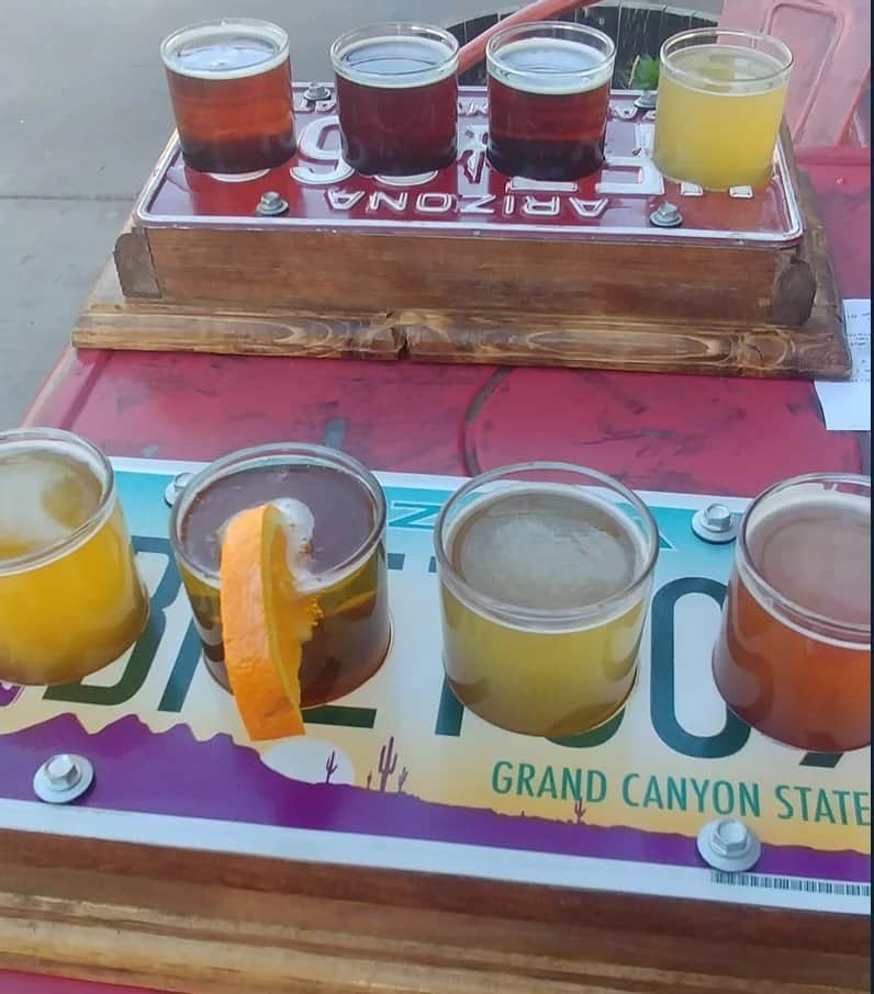 beer flights at relic road brewing company in winslow arizona