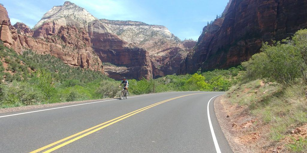 kevin riding up zion canyon scenic drive for the first time in zion