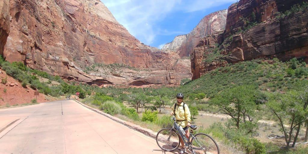 kara with bike on zion canyon scenic drive