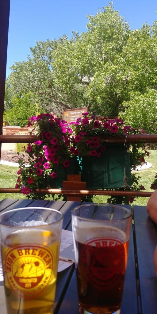 beers on the patio at zion brewing company