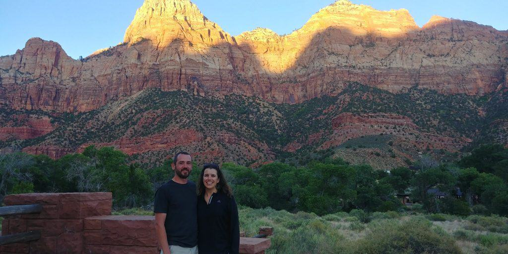 kevin at kara visiting zion national park for the first time