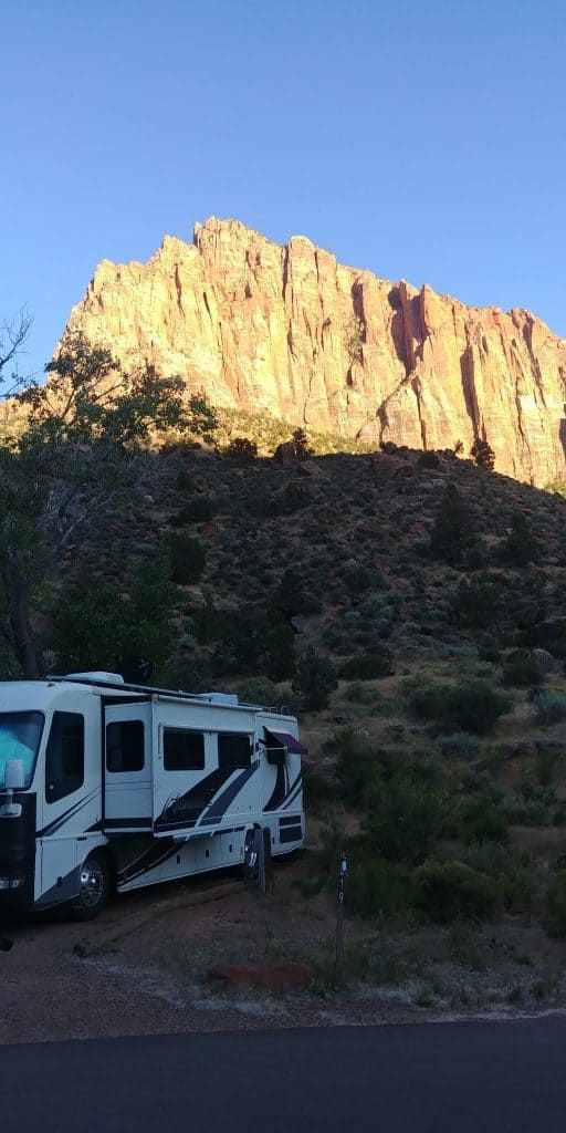 pippi at watchman campground on our first time visiting Zion National Park