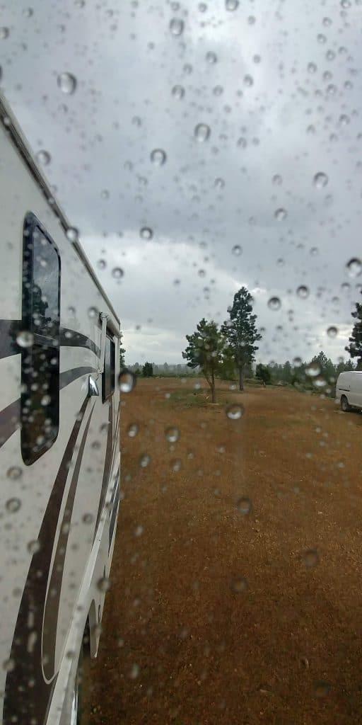 rain from inside pippi at tom's best spring road in utah