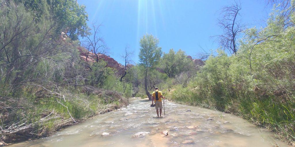 kevin walking in escalante river