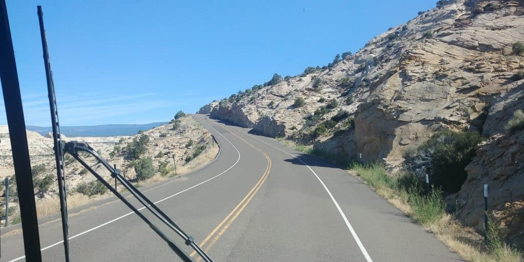 scenic hwy 12 heading towards capitol reef in our motorhome pippi