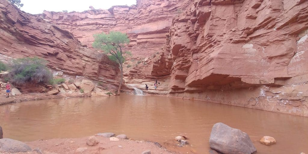 small waterfall at end of sulphur creek trail in capitol reef