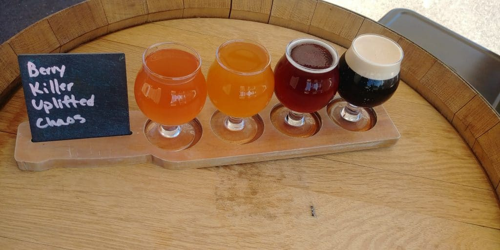 beer flight at talisman brewery