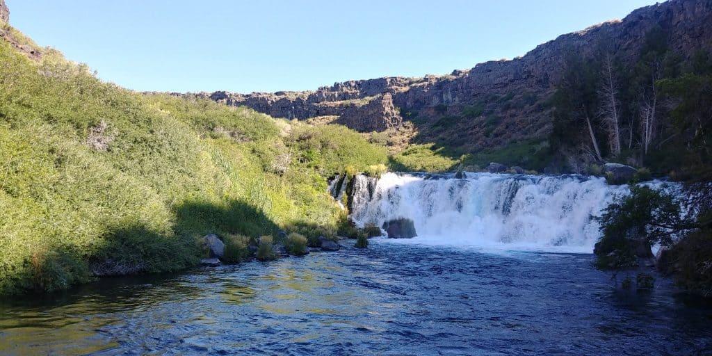 waterfall along box canyon trail in thousand springs state park near twin falls idaho