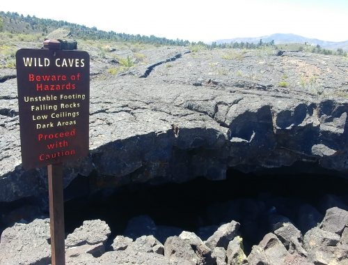 cave warning sign at craters of the moon