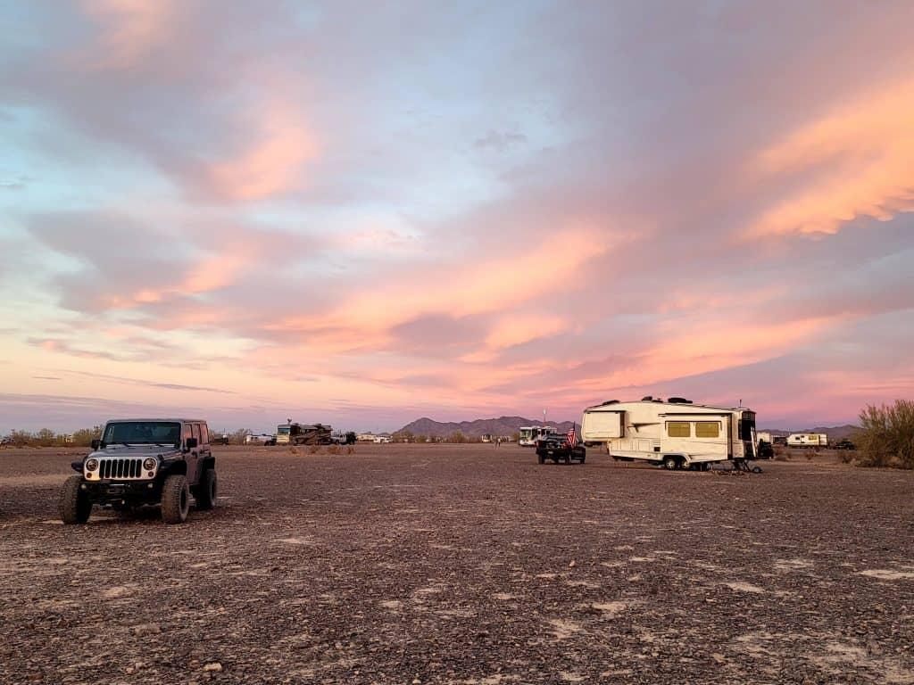 expect a lot of RVs in the desert around Quartzsite