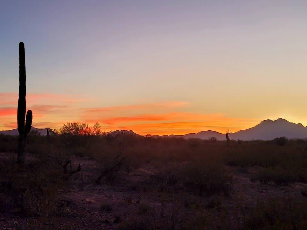 sunset at pump station rd blm campsite near tucson arizona