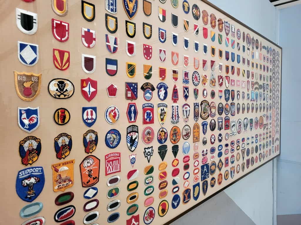 military patches from a private collection on display at pima air and space museum