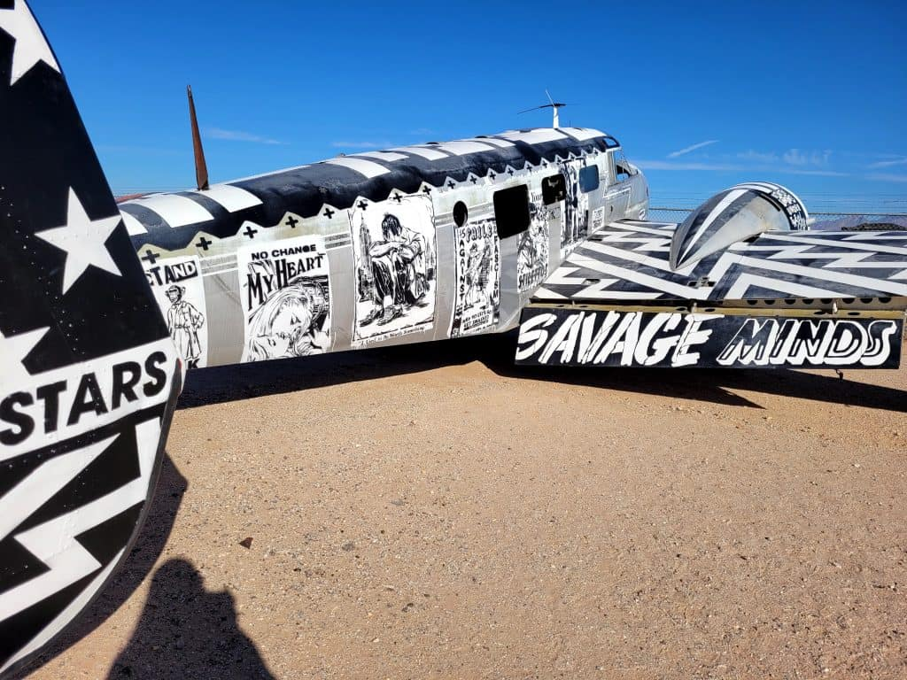 art covered plane at pima air and space museum