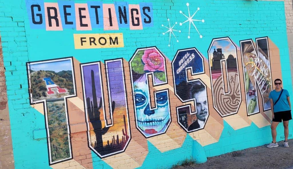 kara at greetings from tucson mural