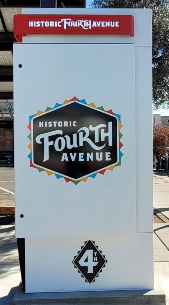 historic fourth avenue sign in tucson