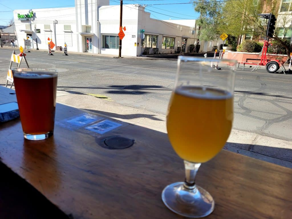 beers at crooked tooth brewing in Tucson Arizona