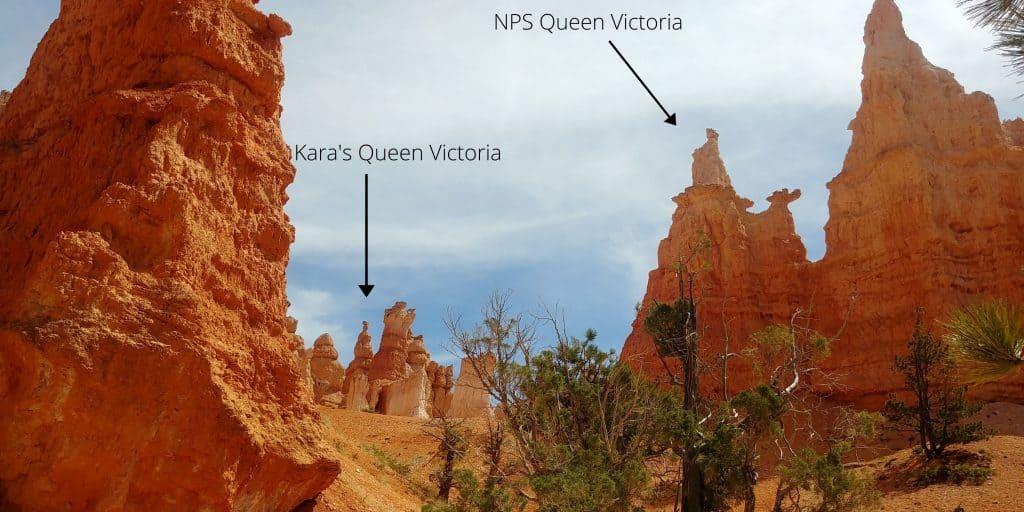 mis-identified queen victoria on queen gardens trail in bryce