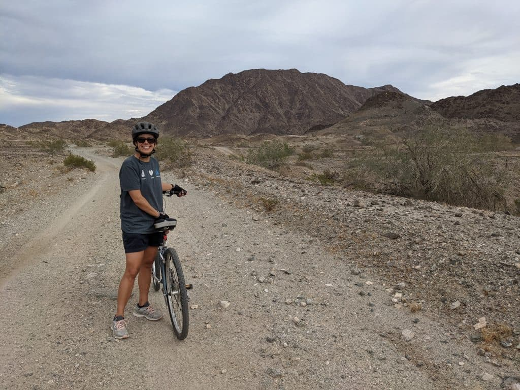 kara biking around american girl mine