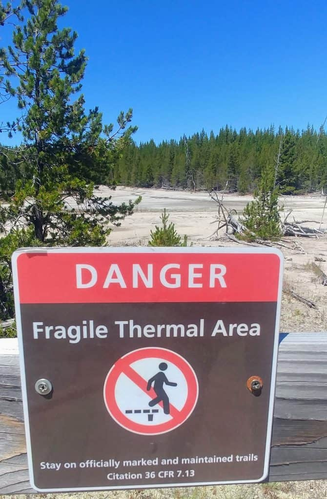 danger thermal features sign in yellowstone