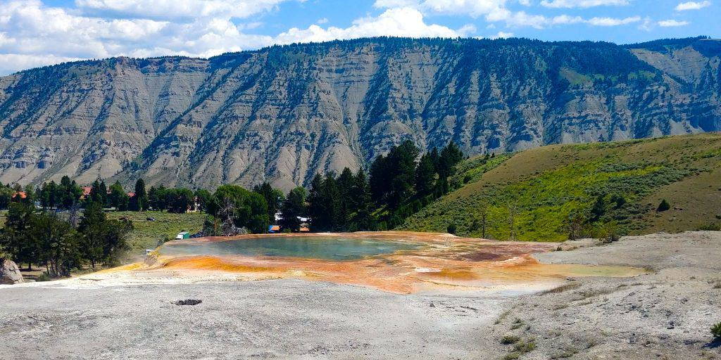 thermal feature at mammoth springs terrace in yellowstone