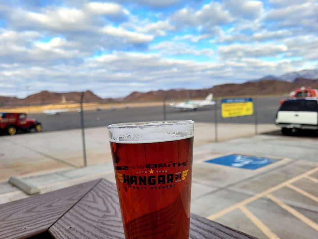 hangar 24 brewing in lake havasu city with airplane in background