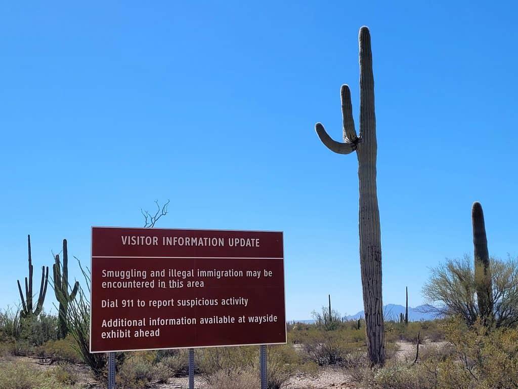 smuggling warning at organ pipe cactus national monument