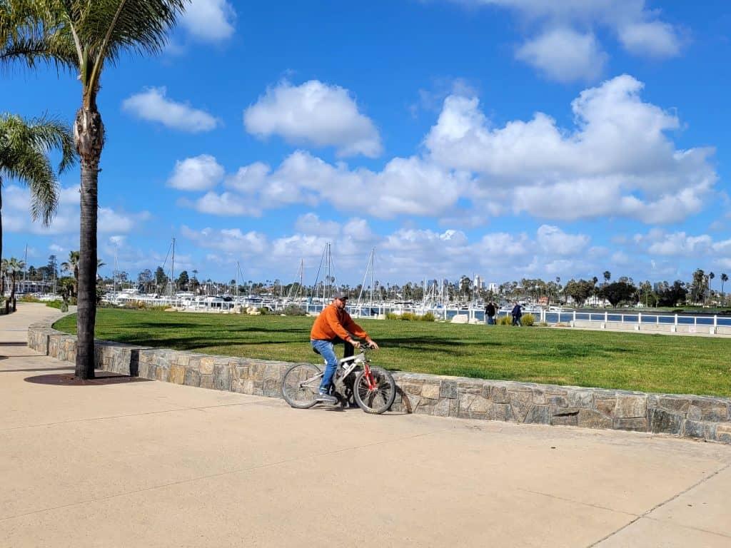 kevin on bayside bike trail in coronado
