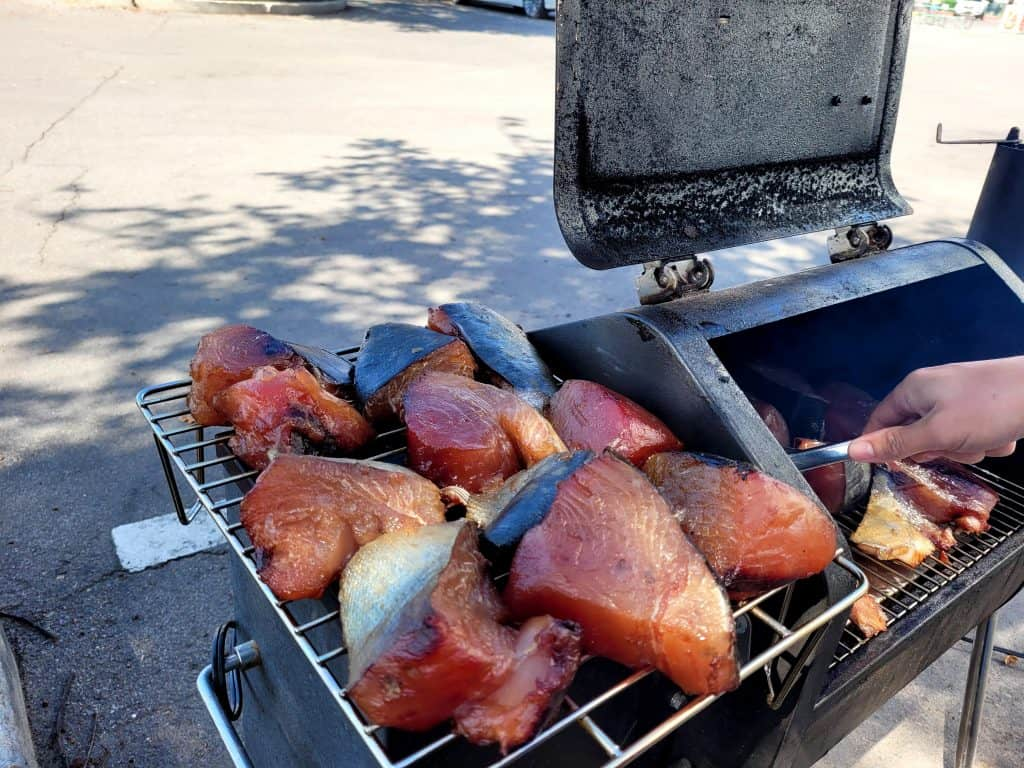 smoking tuna from san diego tuna dockside market on our green mountain davy crocket pellet smoker