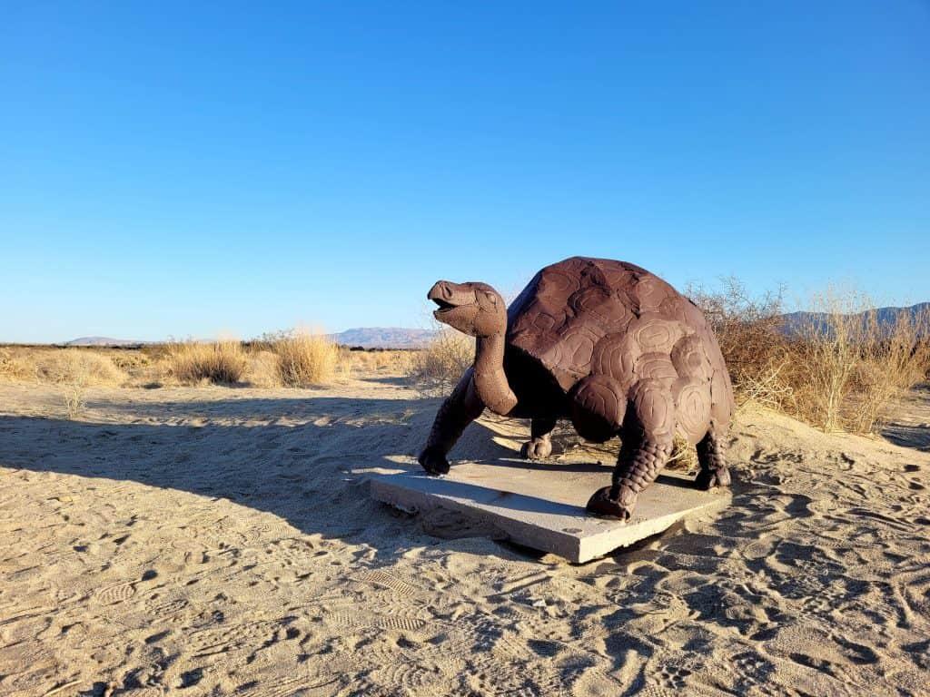 tortoise sculpture at galleta meadows