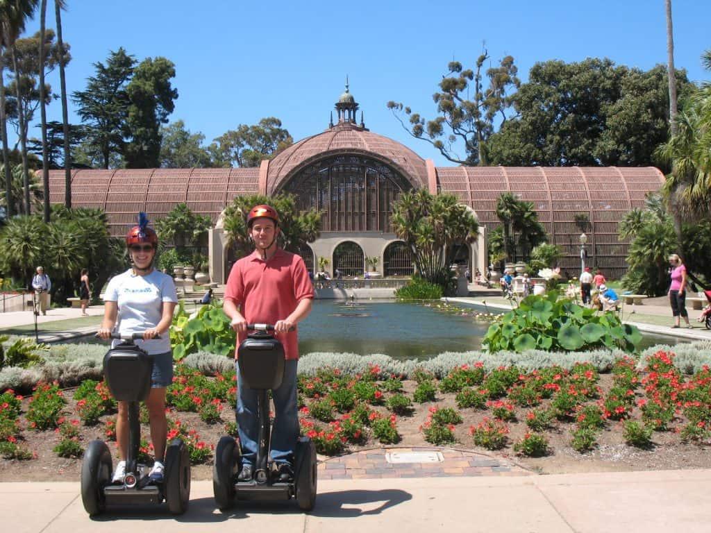 kara and kevin on segway tour in balboa park