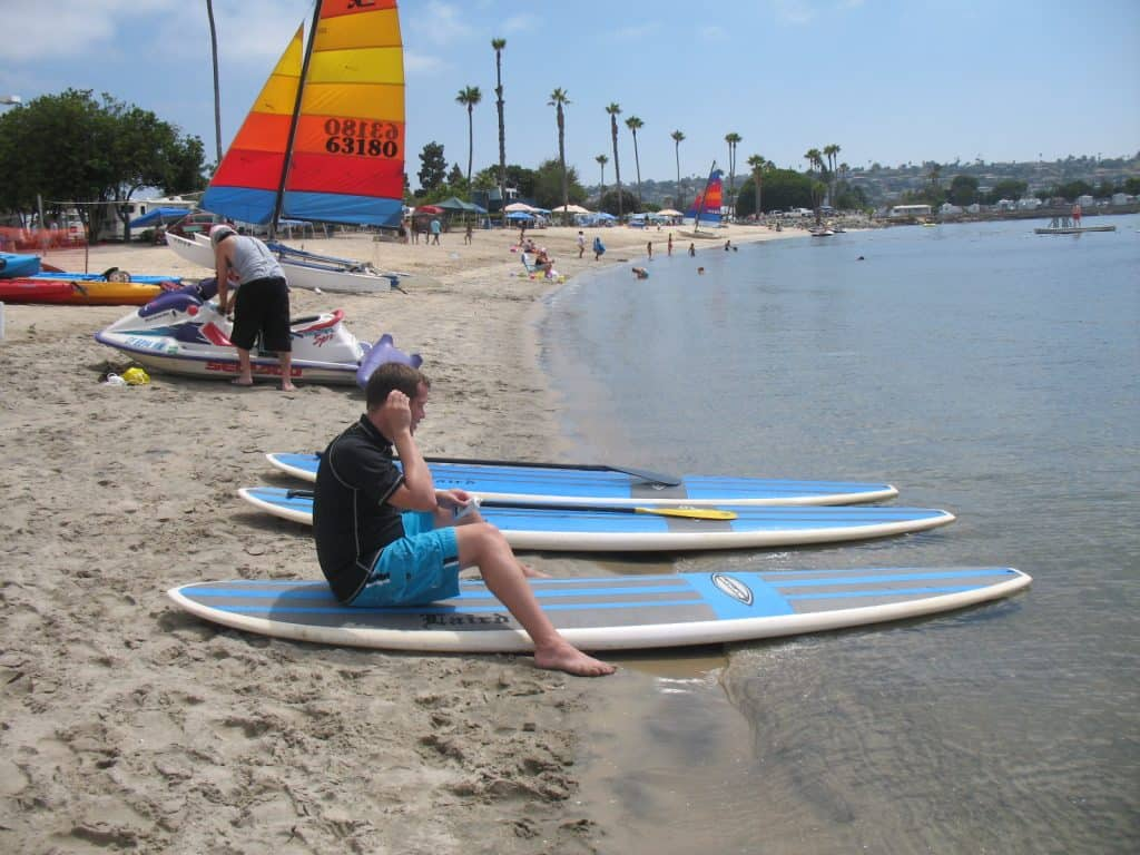 kevin on mission bay with rental paddle boards