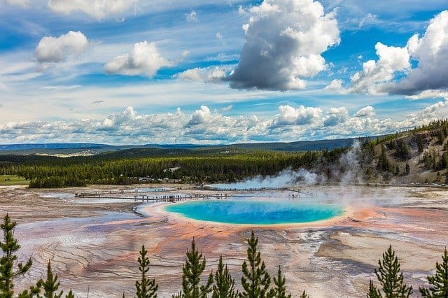 grand prismatic overlook at yellowstone