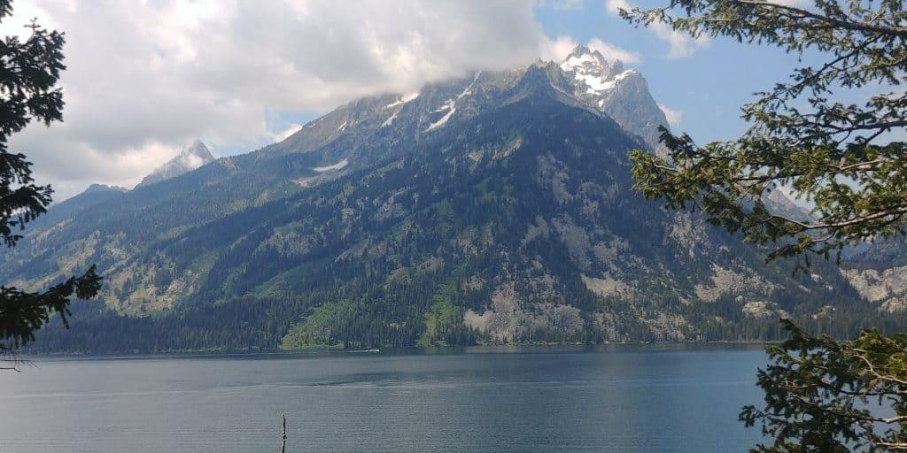 mountain over lake at grand teton