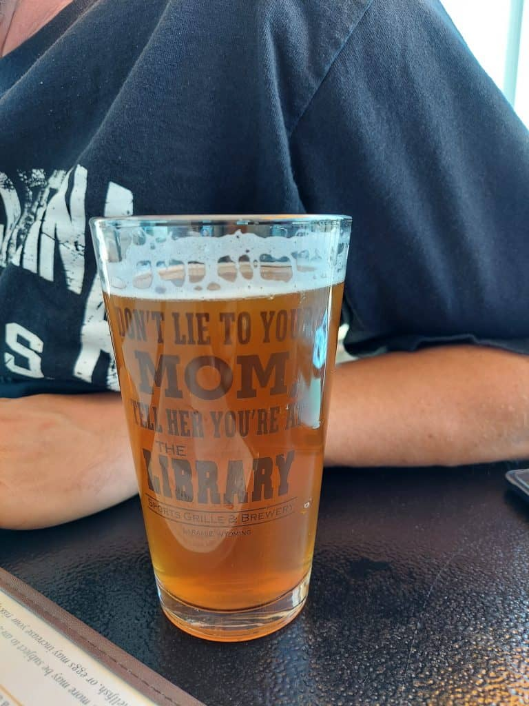 pint of beer at the library brewery in laramie wyoming
