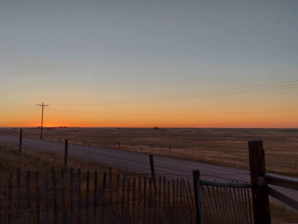 sunset at dream acres emu far