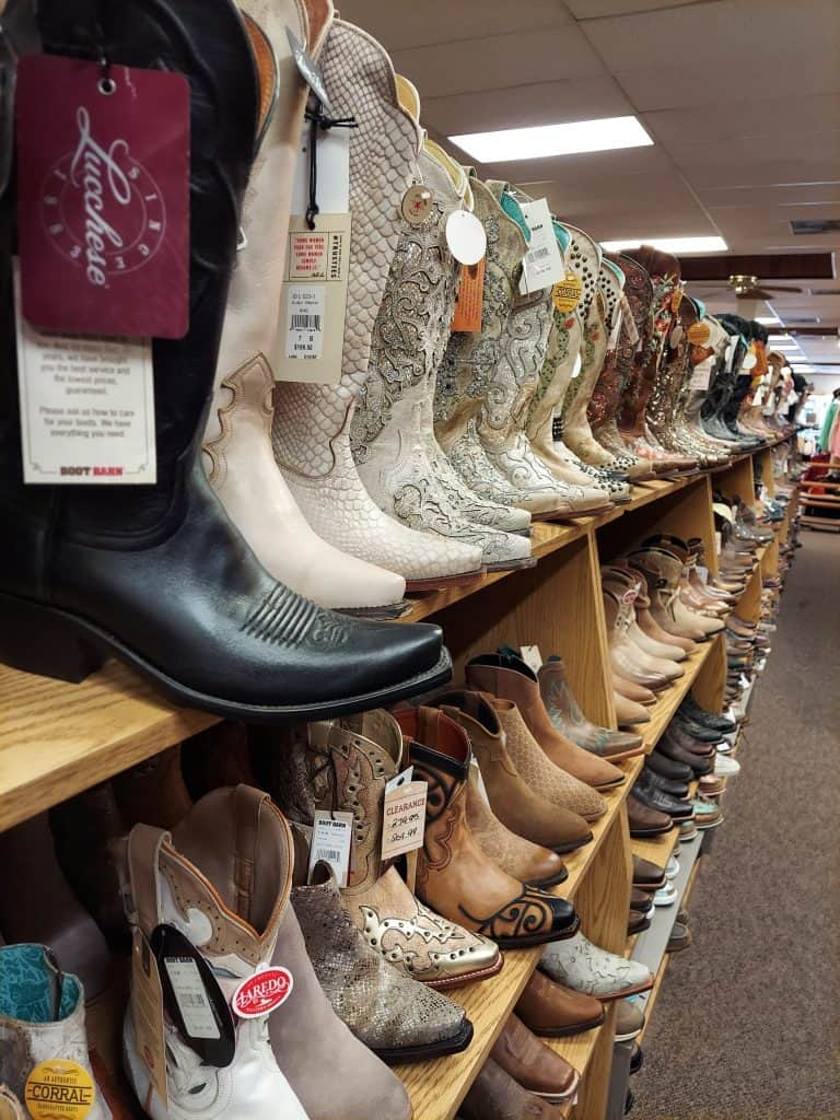 cowboy boots at the wrangler in cheyenne wyoming