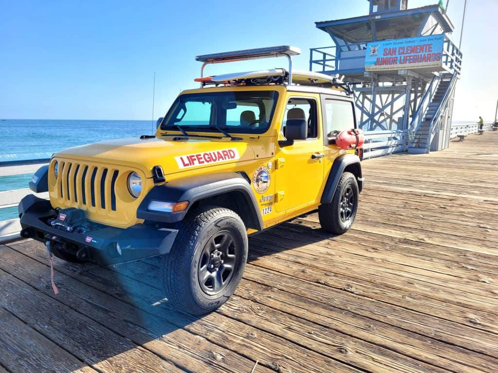 lifeguard jeep on the san clemente pier in southern california