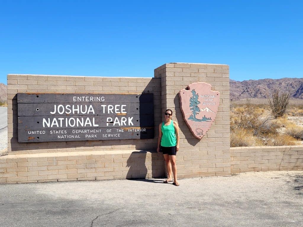 kara at joshua tree entrance sign
