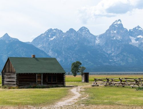 cabin in front of grand tetons