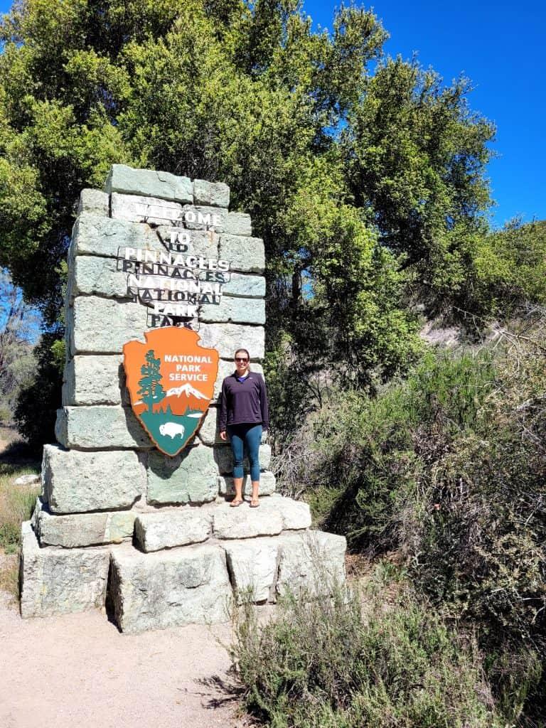 kara at pinnacles national park sign